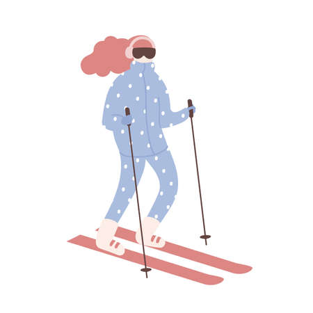 Woman in snowsuit skiing. Girl on skis or sportswoman taking part in slalom competition or cross-country race. Extreme winter sports and outdoor activity. Vector illustration in flat cartoon style