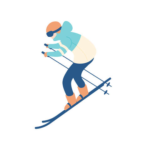 Guy in snow suit skiing. Man on skis, sportsman or freerider taking part in downhill or slalom competition. Extreme winter sports and recreational activity. Vector illustration in flat cartoon style