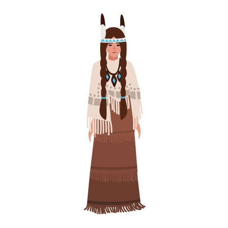 American Indian woman with braids wearing traditional ethnic clothes or national tribal costume decorated by fringe. Indigenous peoples of America. Female cartoon character. Flat vector illustration