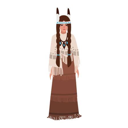 Mujer indígena americana con trenzas vistiendo ropas étnicas tradicionales o traje tribal nacional decorado con flecos. Pueblos indígenas de América. Personaje de dibujos animados femenino. Ilustración vectorial plana