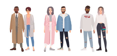 Bundle of cute stylish couples or romantic partners isolated on white background. Set of men and women dressed in trendy clothes standing together and holding hands. Flat cartoon vector illustration