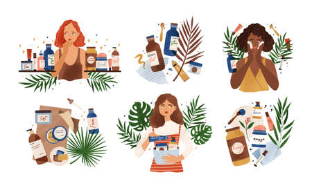 Bundle of compositions with cute young women, tropical leaves and natural organic cosmetics products in bottles, jars and tubes for skin care. Skincare routine set. Flat cartoon vector illustration