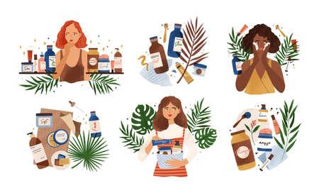 Pacchetto di composizioni con giovani donne carine, foglie tropicali e prodotti cosmetici biologici naturali in bottiglie, barattoli e tubi per la cura della pelle. Set di routine per la cura della pelle. Illustrazione vettoriale di cartone animato piatto
