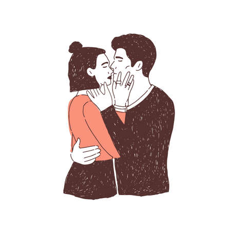 Pair of passionate lovers on date. Young stylish man and woman hugging and kissing. Cute boy and girl in love. Romantic partners cuddling. Hand drawn realistic vector illustration for 14 February