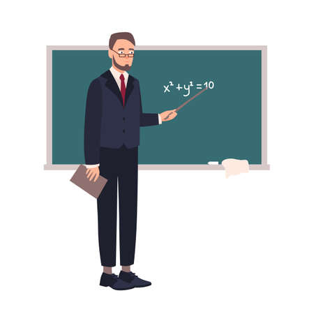Smiling school mathematics teacher or university professor standing beside chalkboard and demonstrating equation. Happy lecturer isolated on white background. Flat cartoon vector illustration