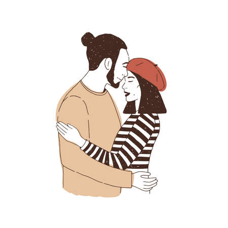 Portrait of young couple or lovers on date. Man hugging and kissing woman in beret in forehead. Boy and girl in love. Boyfriend and girlfriend cuddling. Hand drawn realistic vector illustration