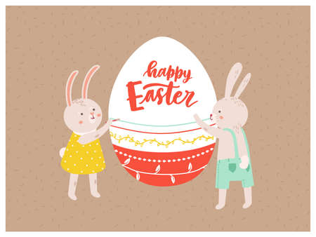 Greeting card or postcard template with pair of funny cute bunnies or rabbits decorating giant egg and Happy Easter wish on it. Flat cartoon vector illustration for spring holiday celebration.