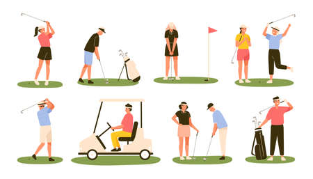 Collection of golf players isolated on white background. Bundle of male and female golfers hitting ball with clubs, driving cart. Outdoor sports or leisure activity. Flat cartoon vector illustration.