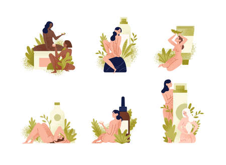 Set of promotional compositions with beautiful young naked women, exotic leaves and natural organic cosmetics products in giant bottles, jars, tubes for skin care. Flat cartoon vector illustration. Illustration