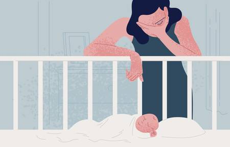Sad tired woman leaning over newborn baby sleeping in crib and covering face with hand. Concept of postpartum or postnatal depression, mood disorder following childbirth. Flat vector illustration
