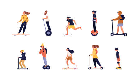 Collection of people riding skateboard, longboard and modern personal transporters - hoverboard or self-balancing board, electric unicycle, motorized kick scooter. Flat cartoon vector illustration
