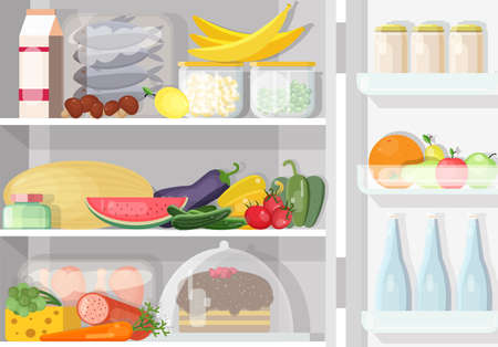 Opened refrigerator with shelves full of various daily food - fish, meat, dairy products, fresh fruits and vegetables, pickles. Content of fridge. Colored vector illustration in flat cartoon style.