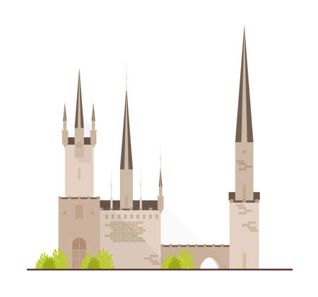 Beautiful fairytale castle or medieval fortress with towers isolated on white background. Facade of royal residence or historical building of gothic architecture. Flat cartoon vector illustration.