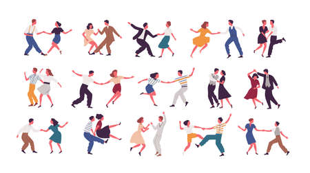 Bundle of pairs of dancers isolated on white background. Set of men and women dancing Lindy hop or Swing. Male and female cartoon characters performing dance at school or party. Vector illustration