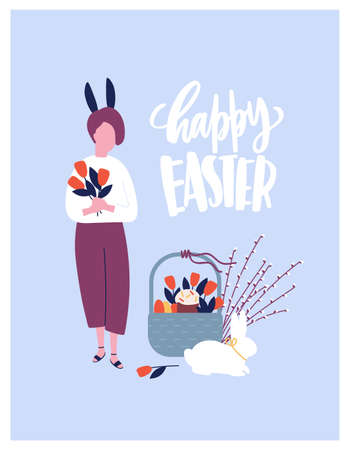 Easter greeting card template with wish handwritten with elegant calligraphic font and woman with bunny ears holding spring flowers and basket with holiday gifts. Flat cartoon vector illustration.