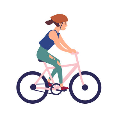 Happy young woman in helmet riding bike. Smiling female character on bicycle isolated on white background. Bicyclist taking part in sports race. Colorful vector illustration in flat cartoon style