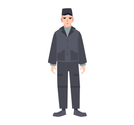 Male criminal in prisoner's uniform isolated on white background. Detainee or arrested person in jail, prison, detention center. Imprisonment or confinement. Vector illustration in flat cartoon style Illustration