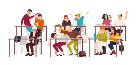 Group of students or pupils sitting at desks in classroom and demonstrating bad behavior - fighting, eating, sleeping, surfing internet on smartphone during lesson. Flat cartoon vector illustration