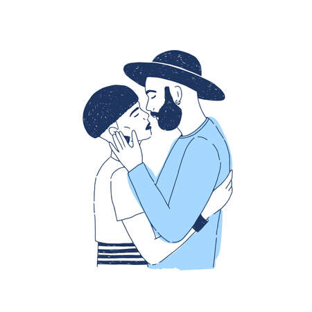 Young stylish hipster boy and girl kissing. Lovers or romantic partners on date. Portrait of boyfriend and girlfriend or couple in love. Monochrome realistic vector illustration for 14 February Illustration