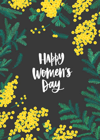 Women's Day greeting card template with lettering written with elegant font, yellow mimosa flowers and green leaves. Festive spring floral vector illustration in flat style for 8 March celebration Illustration