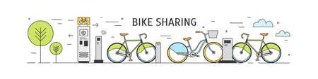 Stazione di bike sharing con biciclette a noleggio parcheggiate su una strada cittadina e terminali di pagamento su sfondo bianco. Trasporto urbano, trasporto pendolare. Illustrazione vettoriale in stile lineare moderno