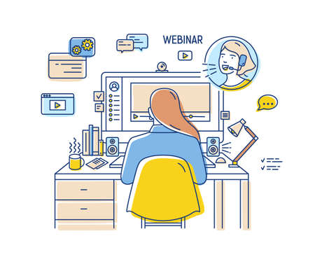Girl sitting at desk with computer and watching or listening to webinar, internet lecture, video podcast. Back view. Self education online. Colored vector illustration in modern linear style Vector Illustration