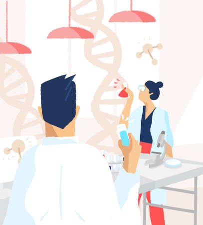 Scientists wearing white coats conducting experiments and scientific research in science or medical laboratory. DNA analysis, genetics, genome modification and genomics. Flat vector illustration