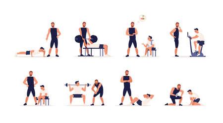 El sofá personal o el entrenador físico ayuda al hombre durante el entrenamiento de fuerza, potencia o cardio, levantamiento de pesas, entrenamiento en el gimnasio, ejercicio deportivo, brinda consejos sobre nutrición. Conjunto de dibujos animados planos. Ilustración vectorial