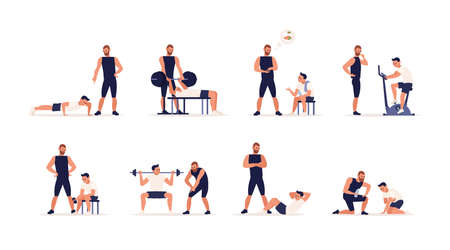 Personal couch or fitness trainer helps man during strength, power or cardio training, weight lifting, gym workout, sports exercise, gives advice on nutrition. Flat cartoon set. Vector illustration