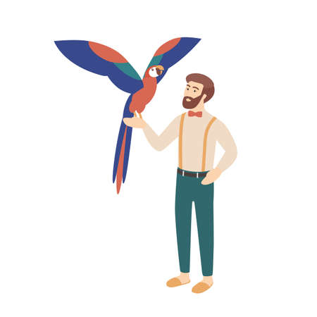 Elegant bearded man holding parrot. Male character and his smart bird or avian. Owner of exotic tropical pet bird isolated on white background. Colorful vector illustration in flat cartoon style Illustration