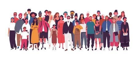 Diverso gruppo multietnico o multinazionale di persone isolate su priorità bassa bianca. Anziani e giovani uomini, donne e bambini in piedi insieme. Società o popolazione. Illustrazione vettoriale di cartone animato piatto