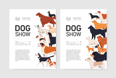 Bundle of flyer or placard templates for conformation dog show with adorable doggies of different breeds and place for text. Colored vector illustration in flat cartoon style for event invitation. Illustration