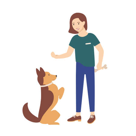 Adorable young woman dressed in casual clothes holding treat and training her dog to obey commands. Cute girl teaching her pet or domestic animal. Colorful vector illustration in flat cartoon style