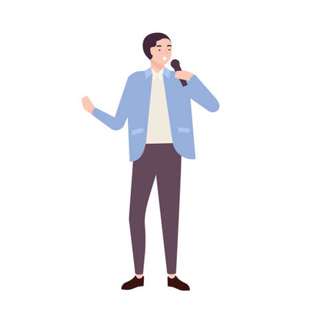 Man singer, jazz, soul or blues vocalist wearing elegant suit and singing ballad in microphone. Cute funny male cartoon character performing song on stage. Flat cartoon colorful vector illustration