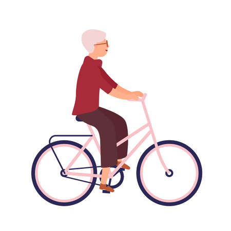 Pretty elderly woman dressed in casual clothes riding bike. Cute smiling old lady on bicycle with her pet animal. Happy pedaling female bicyclist. Colorful vector illustration in flat cartoon style