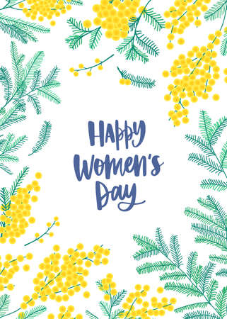 Women's Day flyer or poster template with wish written with cursive font and blooming mimosa flowers on white background. Spring decorative vector illustration in flat style for 8 March celebration Vector Illustration