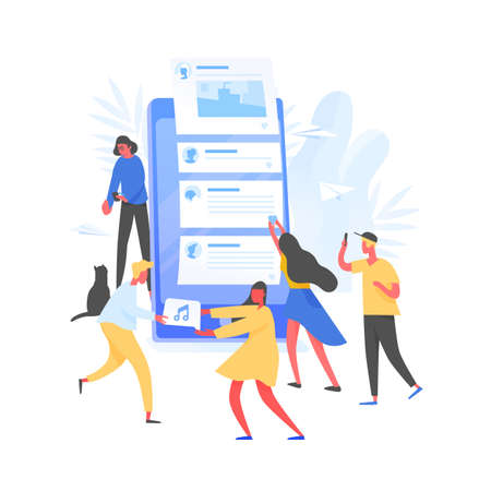 Group of young men and women and giant smartphone with posts on screen. Concept of internet content creation and sharing on social media, blogging and microblogging. Modern flat vector illustration. Illustration