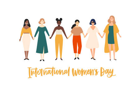 International Womens Day banner, placard or greeting card template with smiling young girls or feminists holding hands and standing together. Flat vector illustration for 8 march celebration