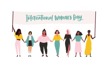 Groep gelukkige jonge meisjes of feminisme-activisten die deelnemen aan een rally of parade en een spandoek vasthouden met de inscriptie van de Internationale Vrouwendag. Platte vectorillustratie voor 8 maart viering.