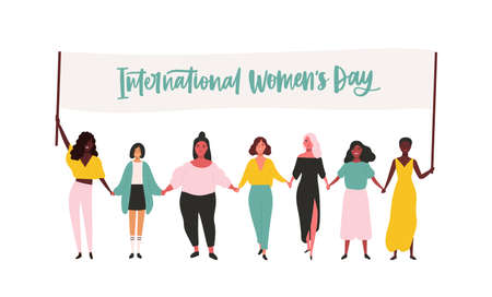 Group of happy young girls or feminism activists taking part in rally or parade and holding banner with International Womens Day inscription. Flat vector illustration for 8 march celebration. Illustration