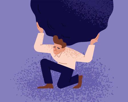 Hombre infeliz que lleva canto rodado o piedra pesada gigante. Concepto de persona sobrecargada, chico sobrecargado con un problema o tarea difícil, chico que soporta condiciones adversas. Ilustración de vector plano moderno.