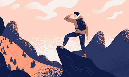 Man with backpack, traveller or explorer standing on top of mountain or cliff and looking on valley. Concept of discovery, exploration, hiking, adventure tourism and travel. Flat vector illustration