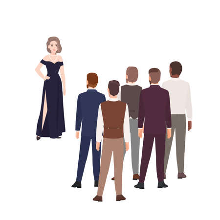 Gorgeous woman in evening dress standing in front of group of men dressed in formal clothing. Concept of girl choosing husband. Cartoon characters isolated on white background. Vector illustration