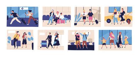 Colección de escenas con turistas que van de vacaciones de verano, viaje o viaje. Amigos, parejas jóvenes y mayores, familias con niños con su equipaje o equipaje. Ilustración de vector de dibujos animados plana