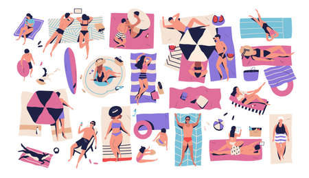 People lying on towels or blankets on beach or seashore and sunbathing, reading books, talking. Men, women and children relaxing at summer resort. Recreational activities. Flat vector illustration  イラスト・ベクター素材