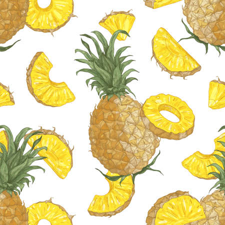 Decorative seamless pattern with whole and cut delicious juicy pineapples on white background. Backdrop with tasty tropical fruit. Elegant vector illustration in antique style for textile print Standard-Bild - 124954595