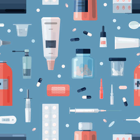 Seamless pattern with pharmacy medications in bottles, ampoules, jars, tubes, blisters and medical tools on blue background. Remedy, cure, treatment backdrop. Flat cartoon vector illustration Ilustrace
