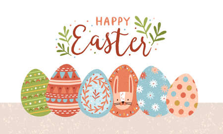 Postcard template with Happy Easter lettering handwritten with calligraphic script and colorful decorated eggs on white background. Flat vector illustration for spring religious holiday celebration
