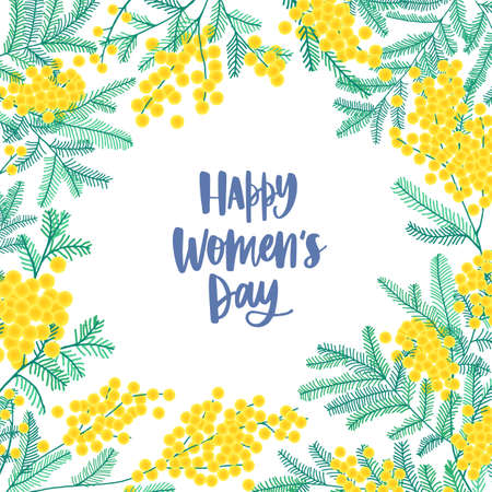Womens Day square greeting card template decorated by beautiful blooming mimosa or silver wattle flowers and leaves. Colorful floral vector illustration in cute flat style for 8 march celebration