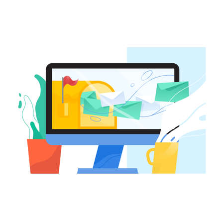 Computer display with opened mailbox and letters in envelopes flying out of it on screen, houseplant and mug. Email, mail or inbox message service, webmail application. Flat vector illustration. Illustration